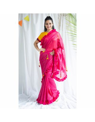 Pink Frilled Shimmer Saree