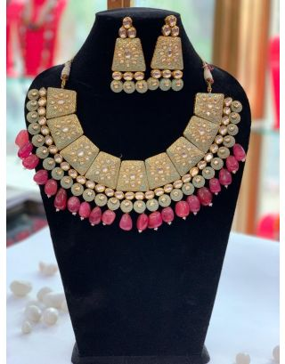 Mint Green & Ruby Necklace Set