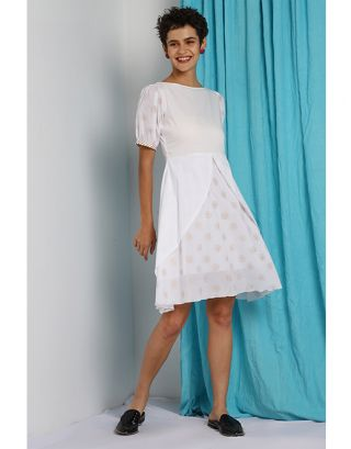White Gold Umbrella Fall Dress