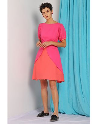 Pink Front Overlap Dress