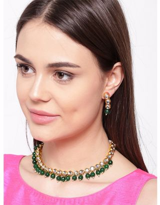 Green Golden Kundan Necklace Set