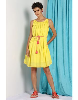 Yellow Tie up Dress