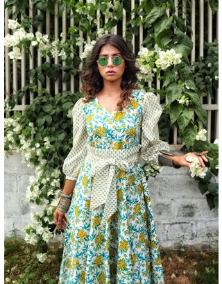 Green Floral Printed Midi Dress
