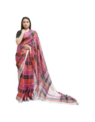 Multicolour Checked Saree