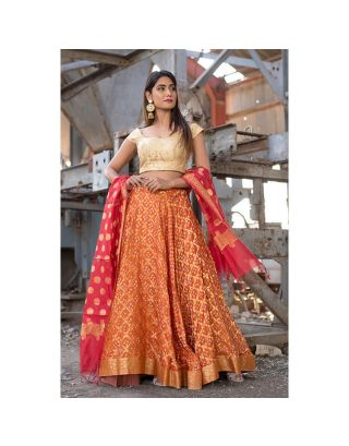 Orange and Golden Banarasi Lehenga Set