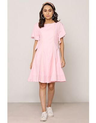 Pink Assymetric Sleeve Dress