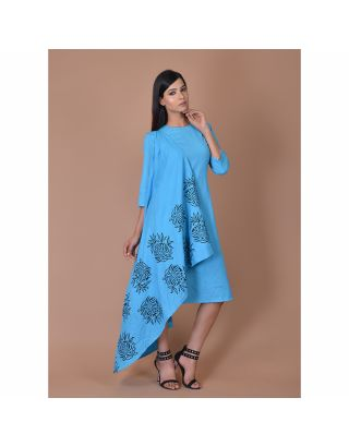 Dark Blue Block Printed Drape Dress