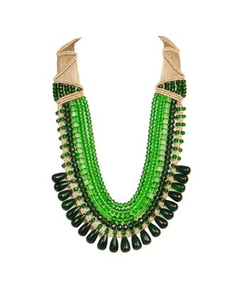 Green Five Crystal Strings Necklace
