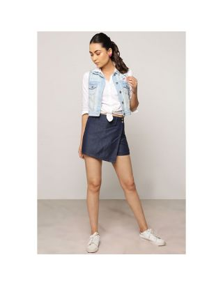 Blue Denim Front Flap Shorts