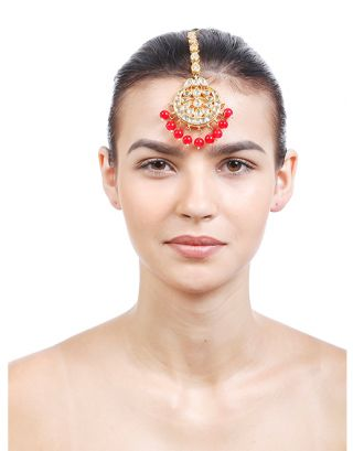 Golden Kundan Red Pearl Maang Tikka