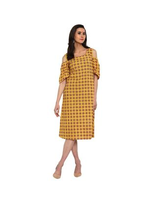 Yellow Dress with Flare Sleeves