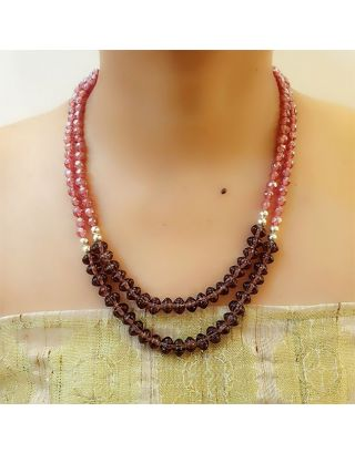 Magenta Glass Beads Necklace