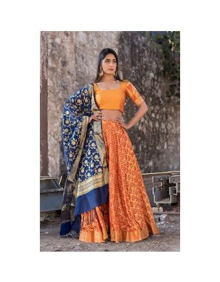 Orange Banarasi Lehenga Set with Blue Dupatta