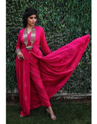 Pink Front Slit Maxi Kurta and Pants
