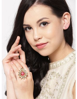 Ruby Golden Kundan Ring