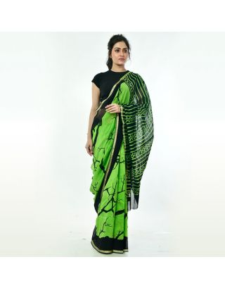 Green Black Printed Chanderi Silk Saree