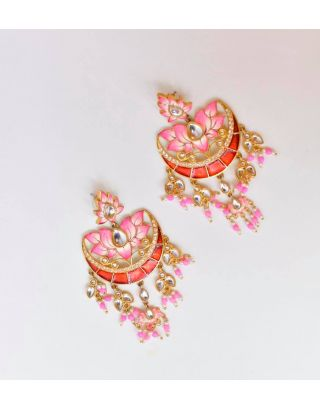 Peach And Pink Floral Earrings