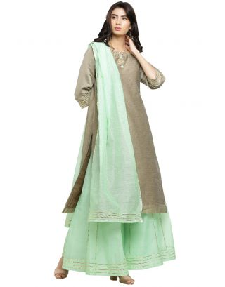 Grey Chanderi Kurta and Sea Green Palazzo Set