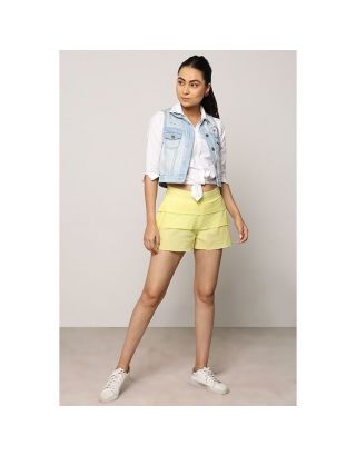Lemon Yellow Layered Shorts