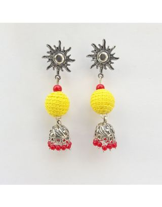 Yellow and Red Jhumkas