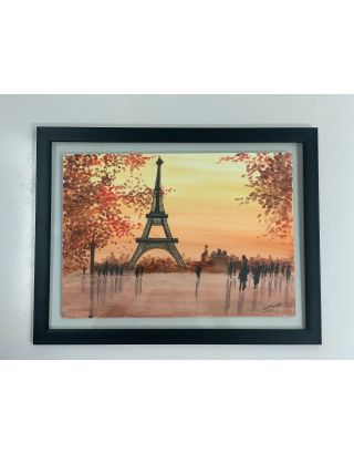 Eiffel Evening Water color painting