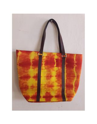 Red and Yellow Tie Dye Tote Hand Bag