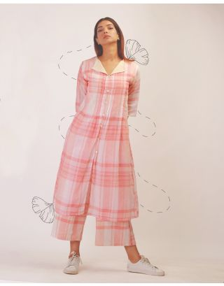 Pink Checkered Kurta Set
