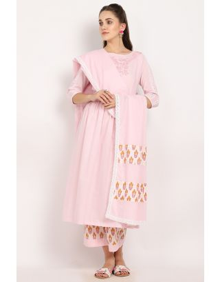 Blush Embroidered Crochet Dupatta Set
