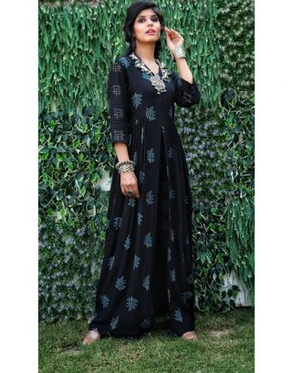 Black Front Slit Maxi Kurta and Pants