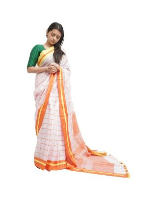 White and Orange Checked Saree