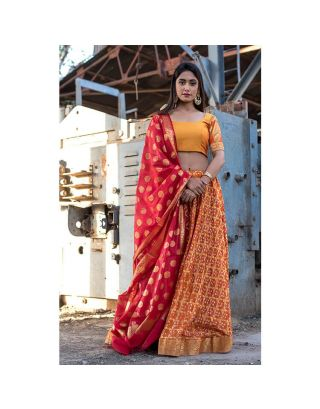 Orange Banarasi Lehenga Set with Red Dupatta