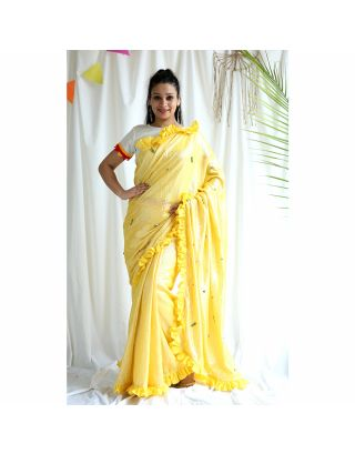 Yellow Frilled Shimmer Saree