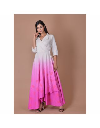 White And Pink Shaded Overlap Dress