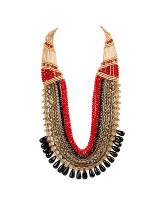 Black and Red Seven Crystal Strings Necklace