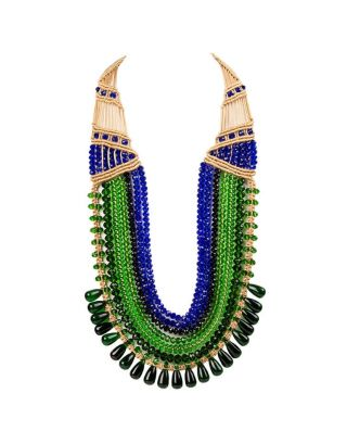 Green and Blue Seven Crystal Strings Necklace