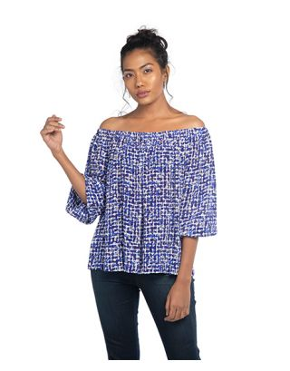 Blue Crepe Off Shoulder Top