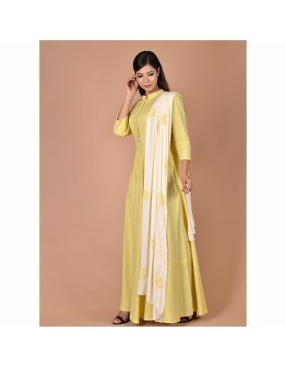 Yellow Gown With Dupatta