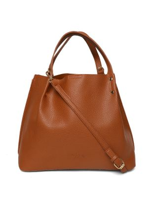 Brown Textured Handbag