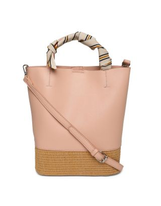 Pink Rattan Shoulder Bag