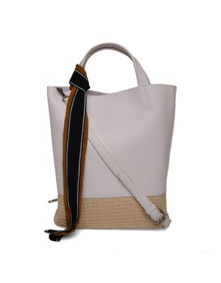 White Rattan Shoulder Bag