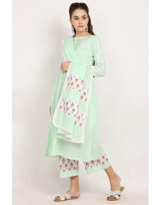Mint Embroidered Crochet Dupatta Set