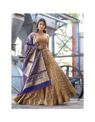 Golden Banarasi Lehenga Set with Dupatta