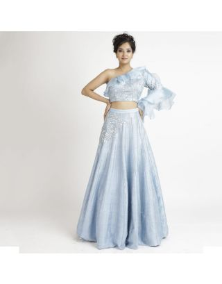 Blue One Shoulder Silk Lehenga Set