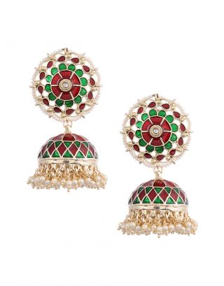 Multi-colored Kundan Jhumkas