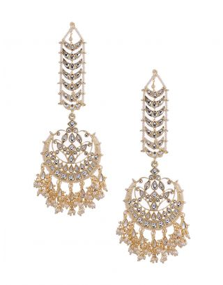 Kundan Earrings With Ear Chain