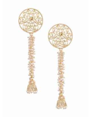 Golden Long Kundan Earrings