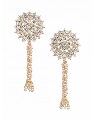 Kundan Long Golden Earrings