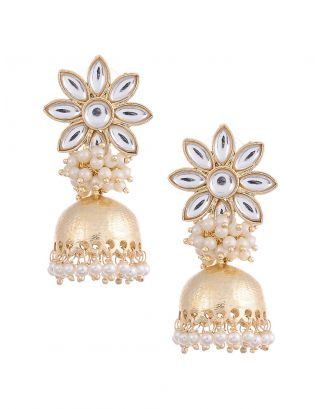 Golden Pearl Jhumki Earrings