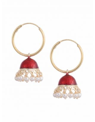Maroon Jhumki Earrings