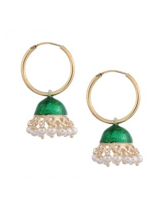 Green Jhumki Earrings